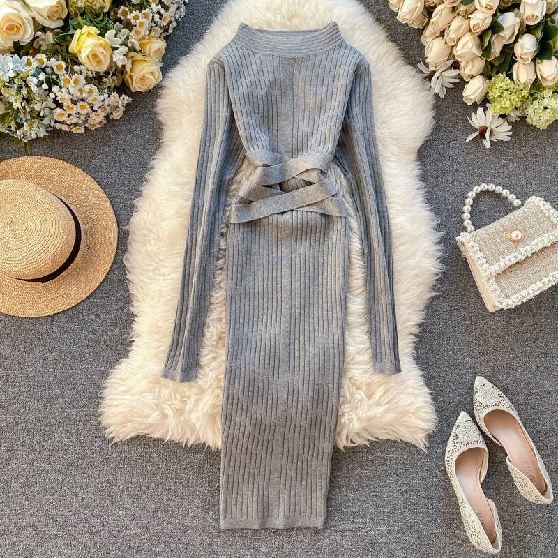 Aibeautyer 2020 Slim Bandage Midi Pencil Dresses Autumn Winter Bodycon Knitted Sweater Party Women Club Knee Length Dress