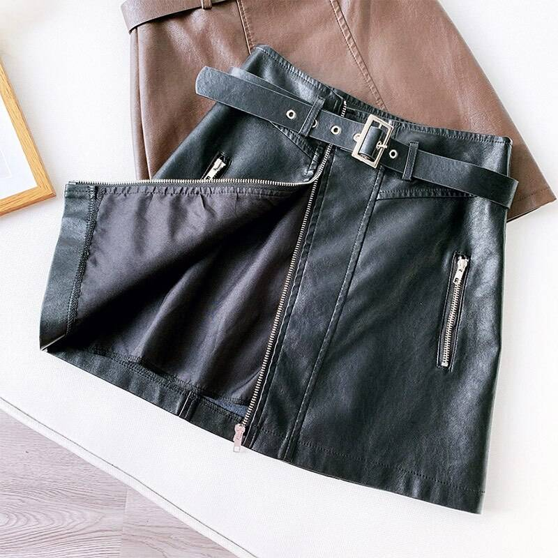 PU Leather Zipper Belt High Waist Pocket Bottom Mini Skirt 4