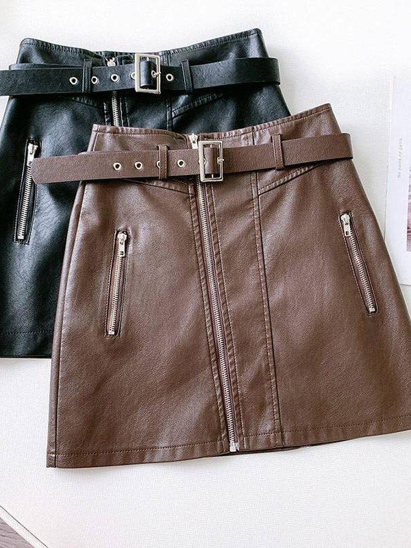 Pu leather zipper belt high waist pocket bottom mini skirt
