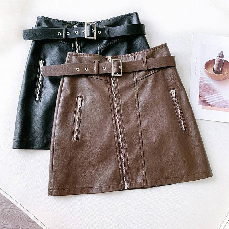 PU Leather Zipper Belt High Waist Pocket Bottom Mini Skirt 1