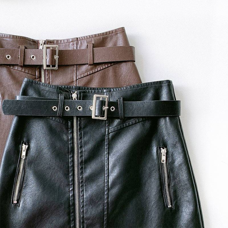 PU Leather Zipper Belt High Waist Pocket Bottom Mini Skirt 2
