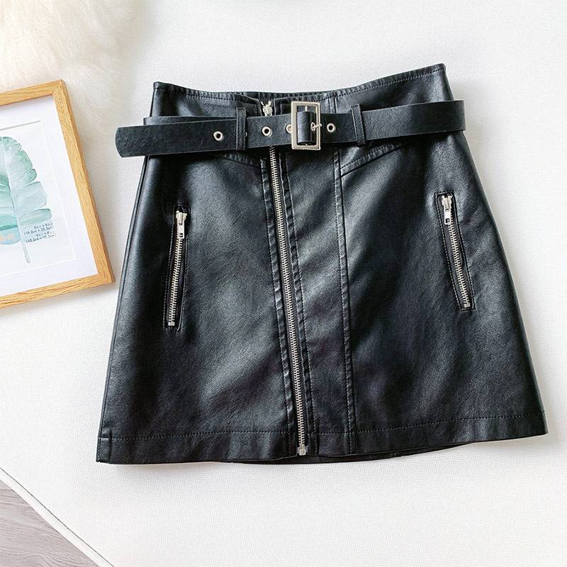 PU Leather Zipper Belt High Waist Pocket Bottom Mini Skirt 3