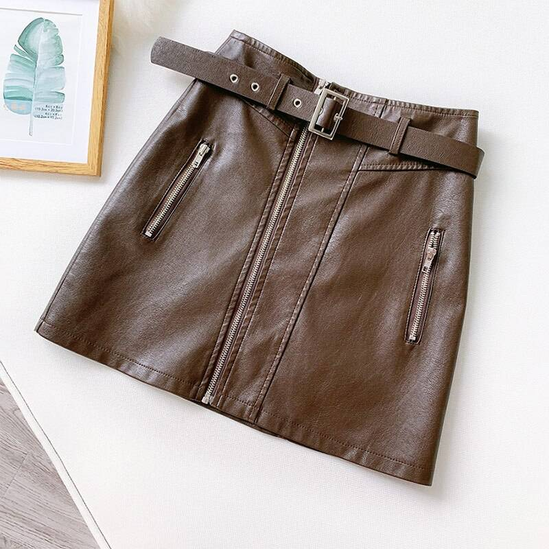 PU Leather Zipper Belt High Waist Pocket Bottom Mini Skirt 5