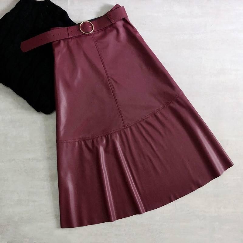 Neophil Vintage Women Leather Midi Skirts PU Faux Winter Warm Fashion Sashes A-Line High Waist Flare Belt Skirt Longa Saia S9730