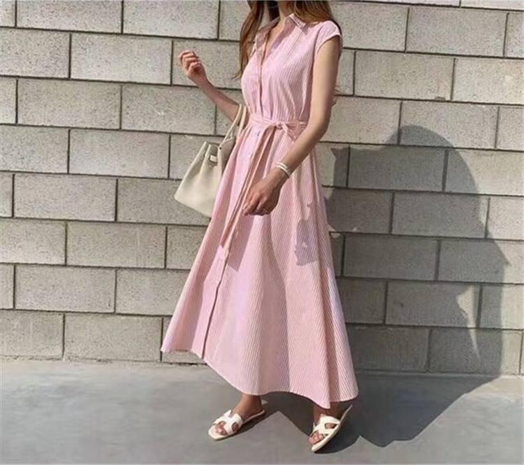 Sleeveless striped oversize lace up long shirt dress