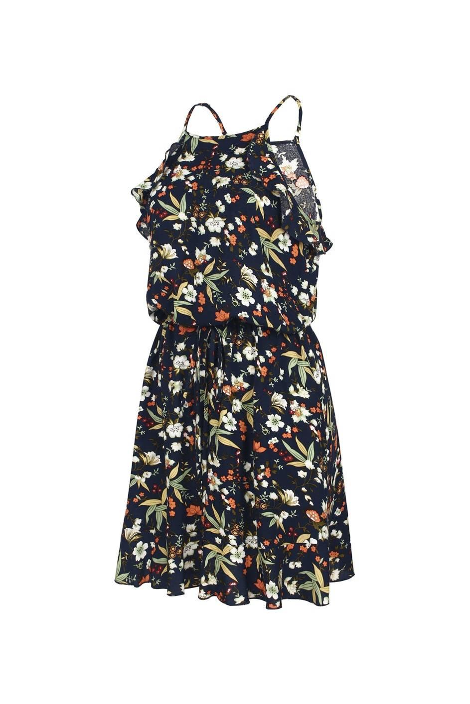 Halter print sleeveless ruffles above knee mini floral dress