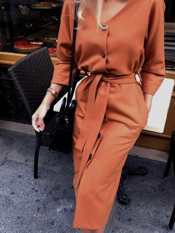 Vintage v neck long sleeve sashes button casual office dress