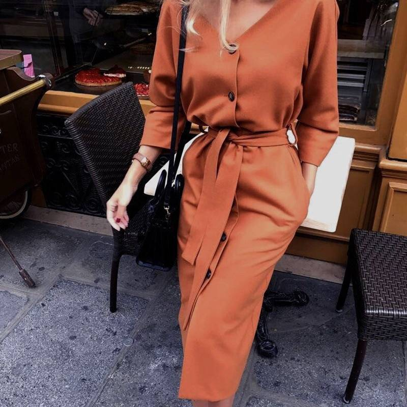 Vintage V Neck Long Sleeve Sashes Button Casual Office Dress 1