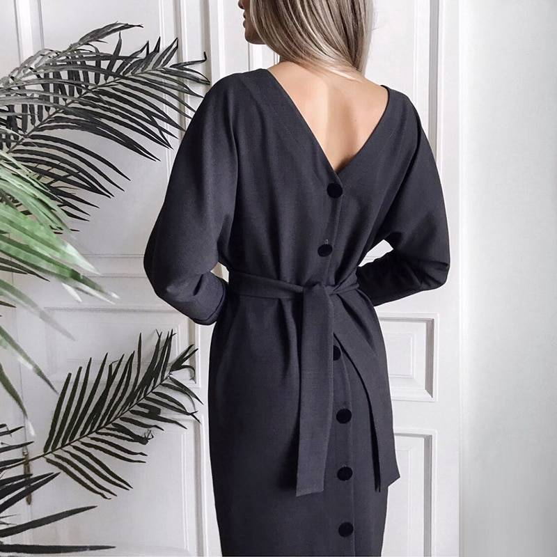 Vintage V Neck Long Sleeve Sashes Button Casual Office Dress 3