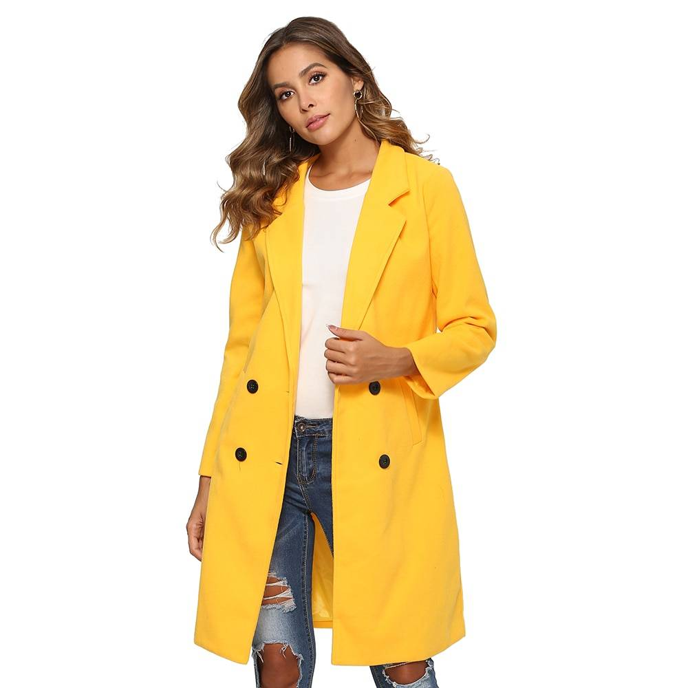Women Autumn Winter Woollen Coat Long Sleeve Turn-Down Collar Oversize Blazer Outwear Jacket Elegant Overcoats Loose Plus Size