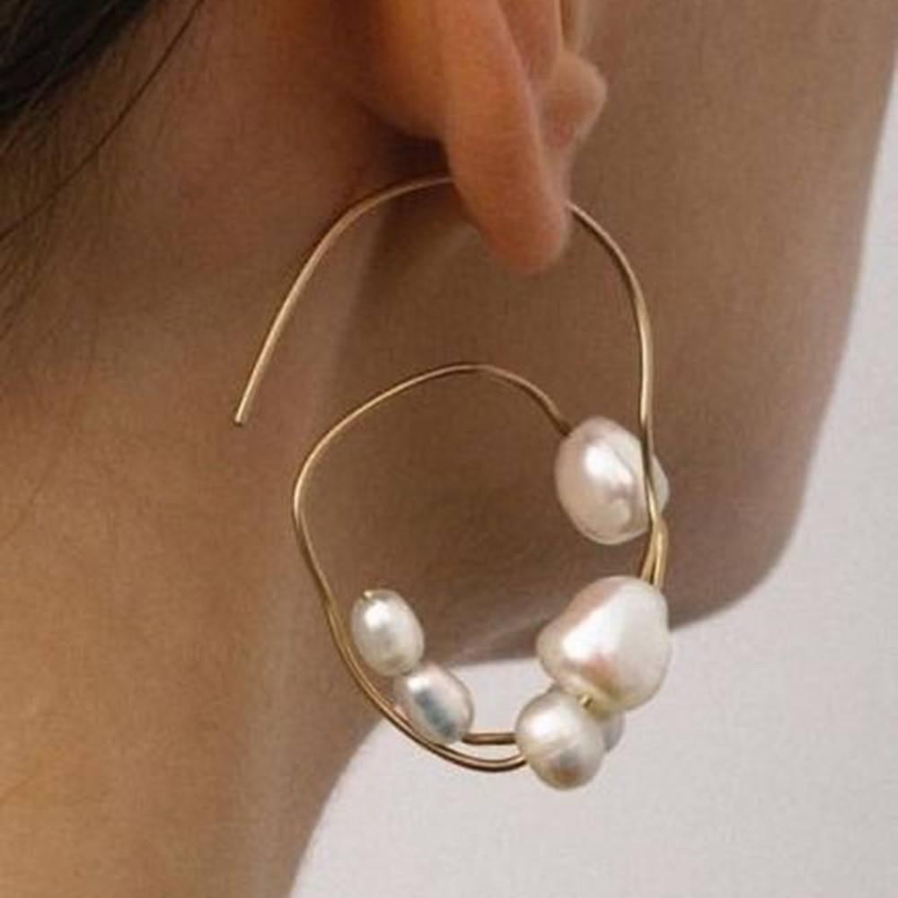 Boho white pearl round circle hoop earrings