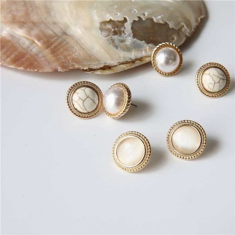 Vintage round marble opal stone big stud earrings