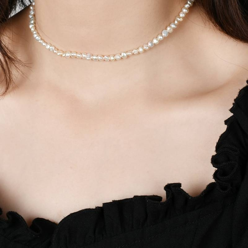 ASHIQI Natural Freshwater Pearl Choker Necklace Baroque pearl Jewelry for Women wedding 925 Silver Clasp Wholesale 2020 trend