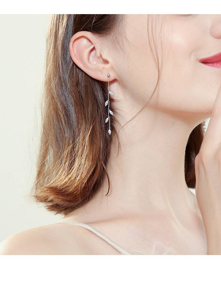 OBEAR Silver Plated Crystal Leaf Tassel Drop Earrings For Women Wedding Fashion Jewelry Gift