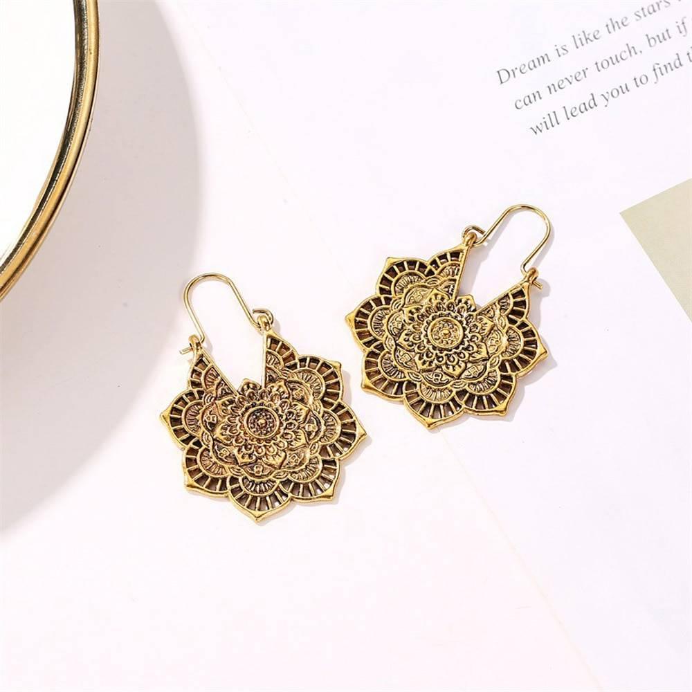 Antique gypsy indian tribal ethnic hoop dangle mandala earrings