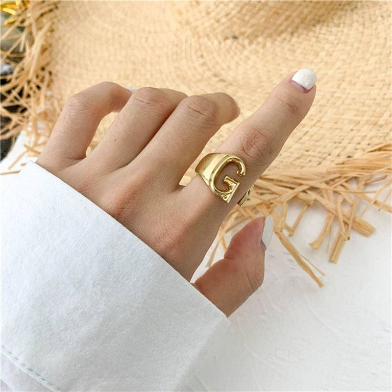2020 New Adjustable Open Ladies Meaningful Gold Initial Rings Jewelry Gift Chunky A-Z Letter Rings For Women