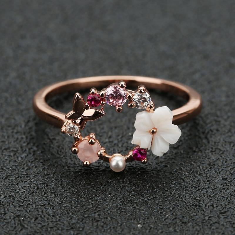 Rose gold zircon butterfly flowers crystal finger wedding ring