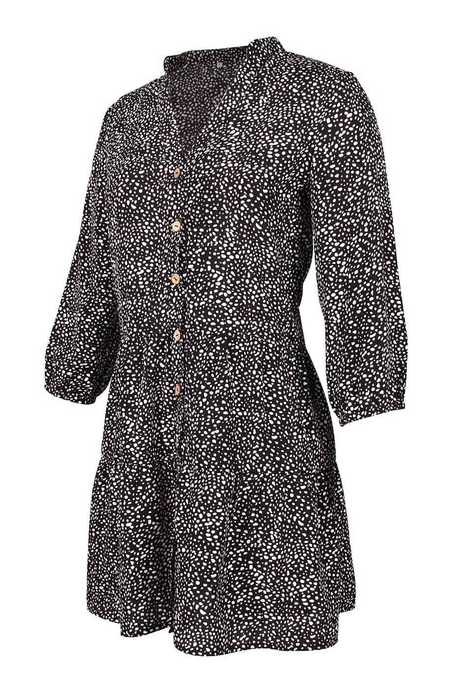 Single breasted print v-neck three quarter sleeve mini dress