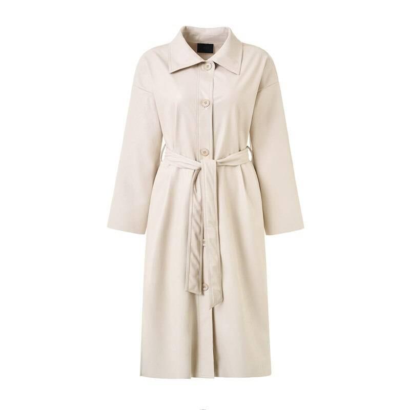 Loose belt pu leather trench coat jacket