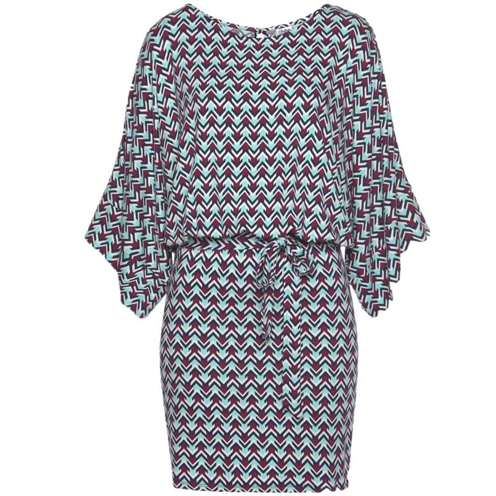 Vintage print wide sleeve o-neck hollow out sashes bodycon mini dress