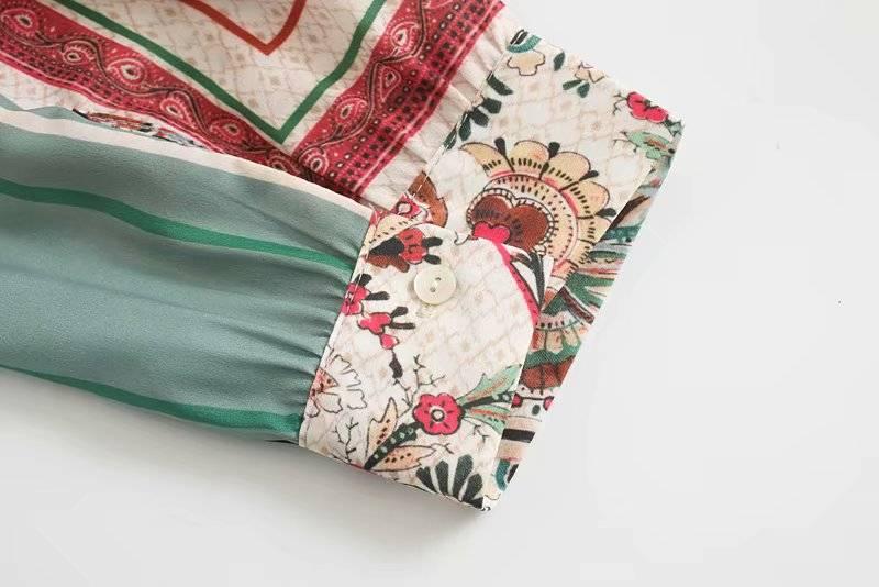 Vintage floral print sashes long sleeve shirt dress
