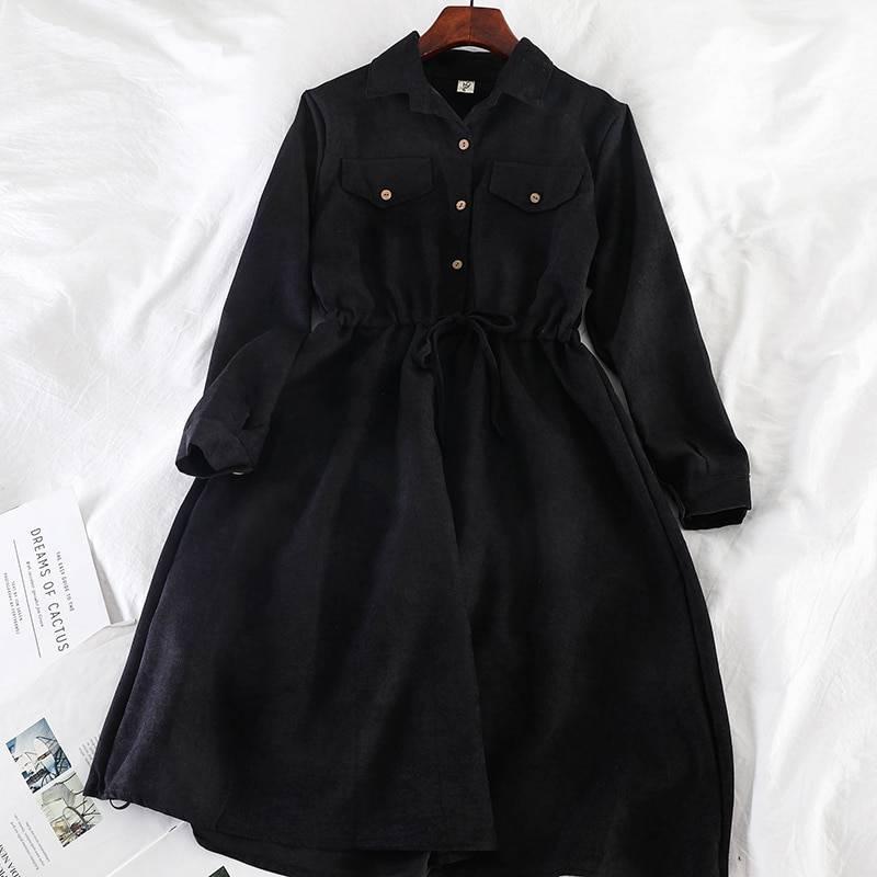 Elegant vintage pockets drawstring a line office midi shirt dress