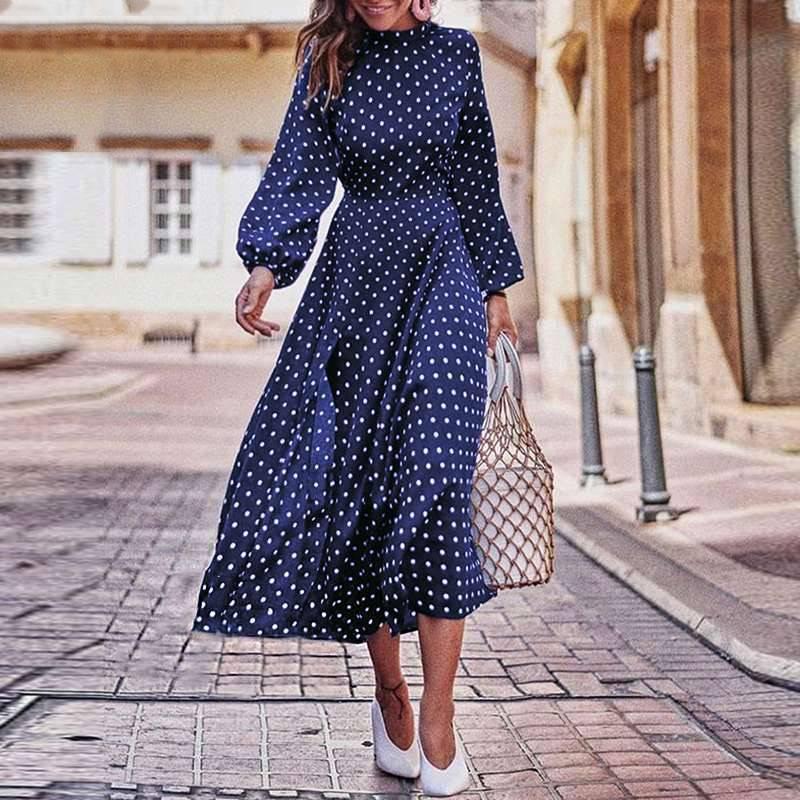Elegant vintage lantern sleeve polka dot printed stand collar long sleeves dress