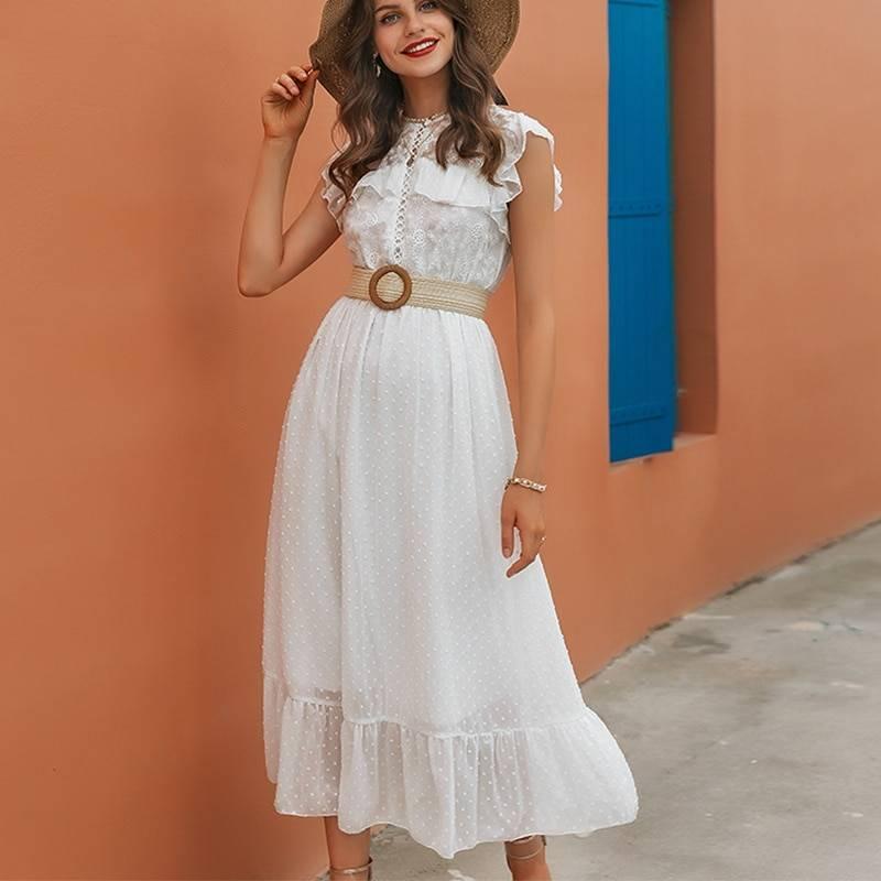 Elegant straight sleeveless round neck white lace splicing long office dress