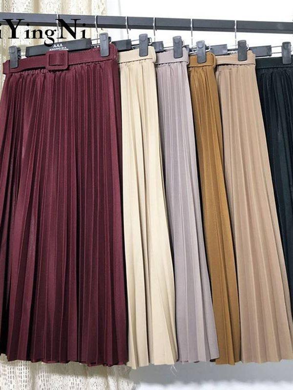 Vintage high waist belted pleated midi skirt