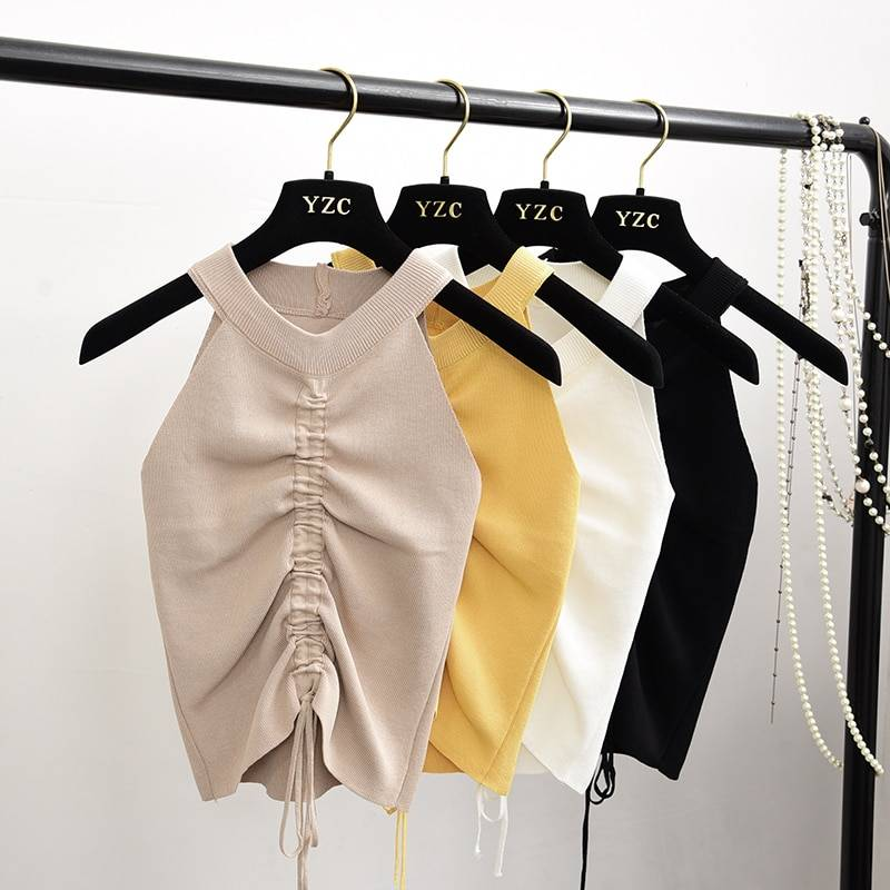 Stretchable Knit V Neck Crop Camis Tops Summer Women Solid Camisole Tank top Shirt For Female