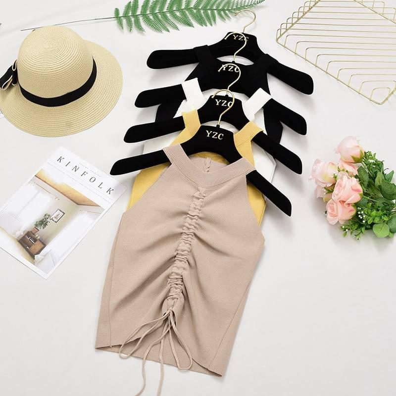 Knit v neck summer women crop top