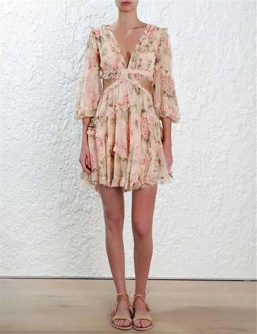 Spaghetti strap cross backless deep v print bodycon chiffon dress