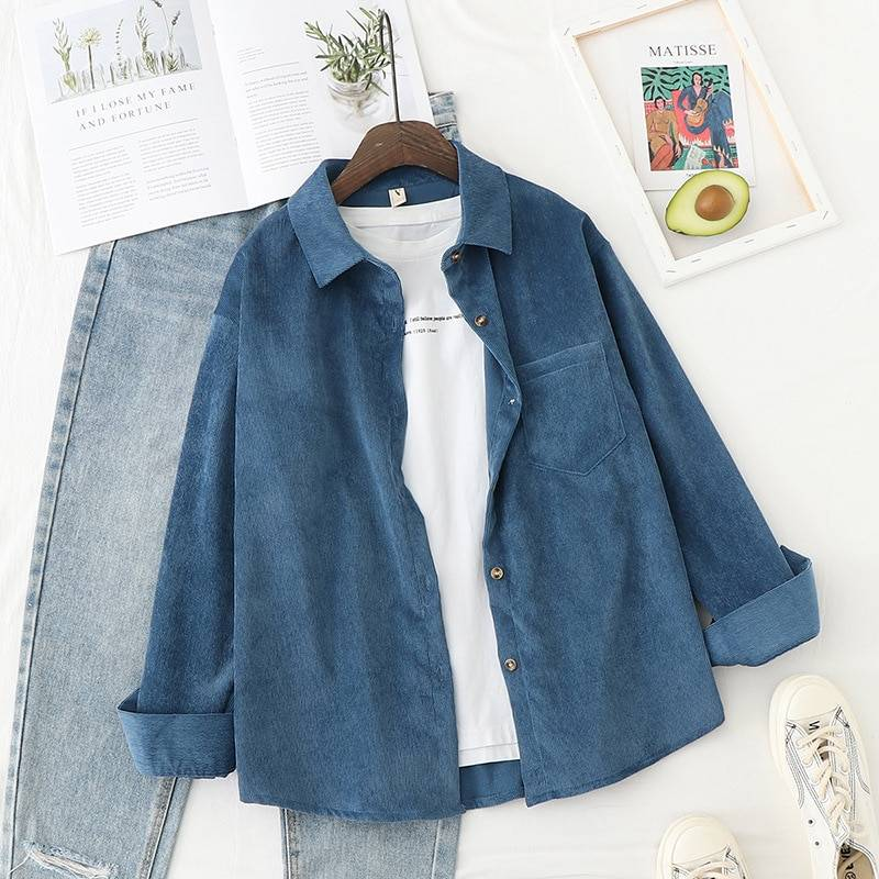 Autumn Jackets Women Corduroy Shirts Loose Long Sleeve Solid Lady Tops Casual Outwear Female Clothes