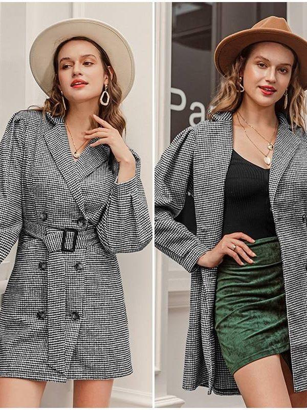 Elegant notched collar black plaid puff sleeve dress coat