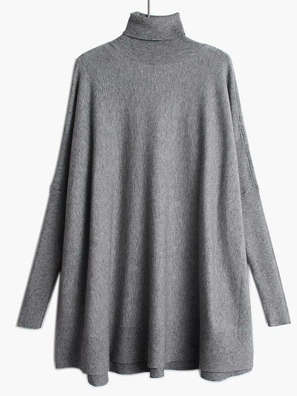 Loose fit turtleneck long sleeve knitting sweater pullover