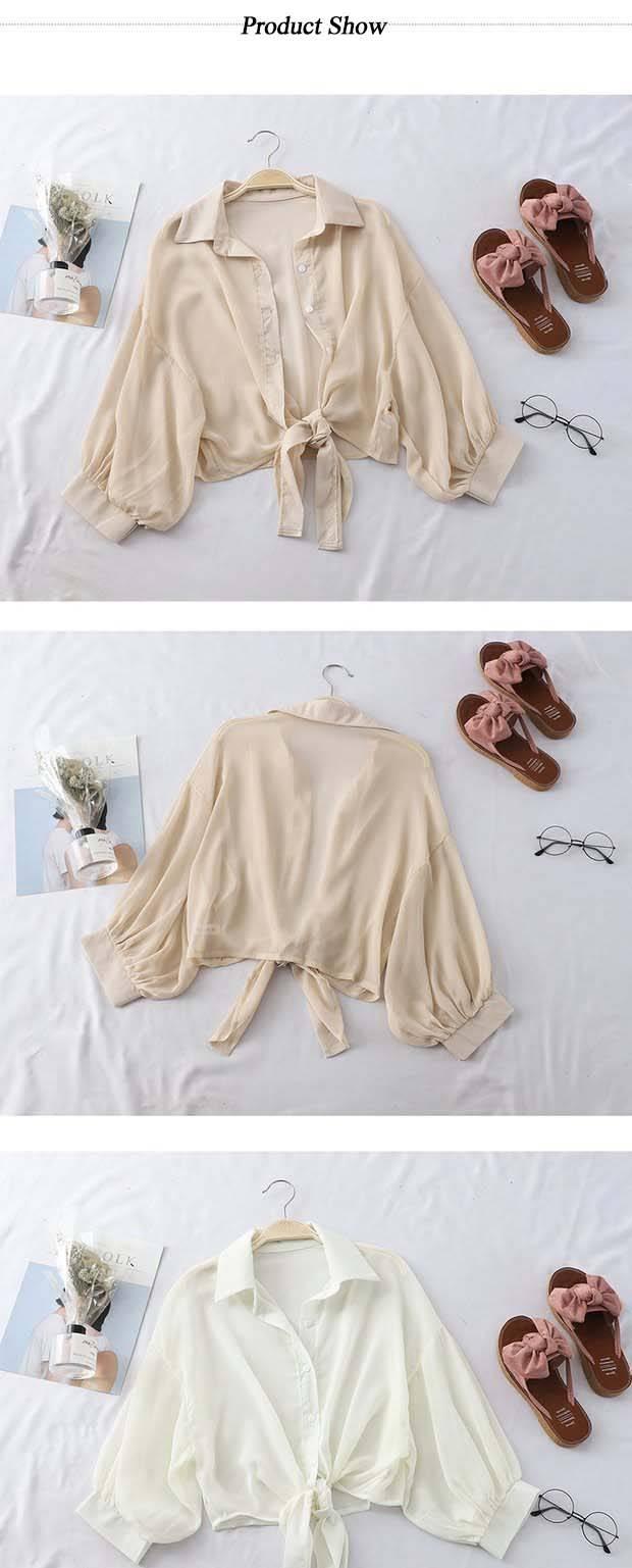 HELIAR Chiffon Shirts Women Half Sleeve Button Up Chiffon Blouses Female Elegant Casual Solid OL Shirts For Women 2020 Autumn