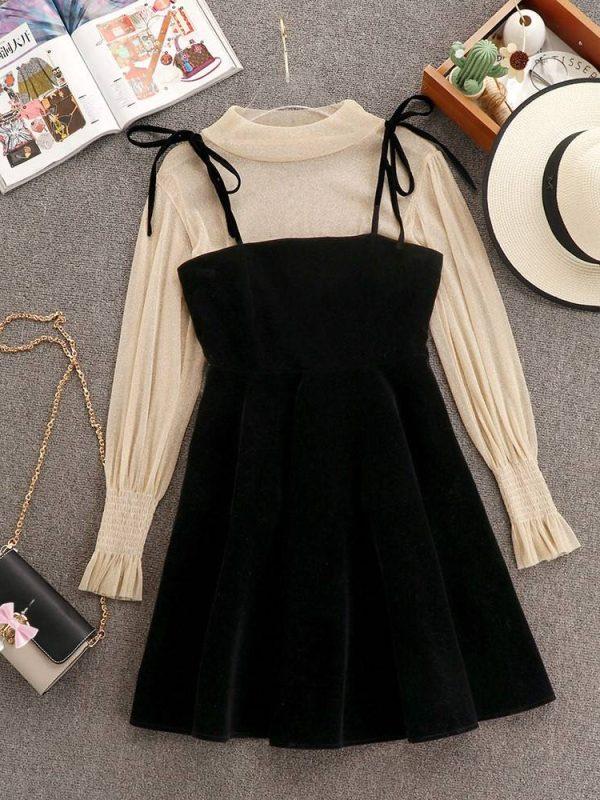 Elegant transparent lantern long sleeve top + dress set