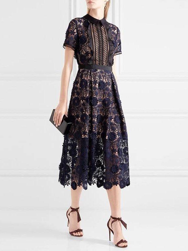 Elegant short sleeve flowers embroidery lace dress