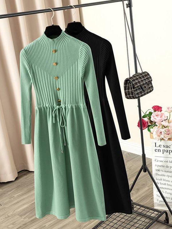 Elegant knit a line drawstring pleated midi dress
