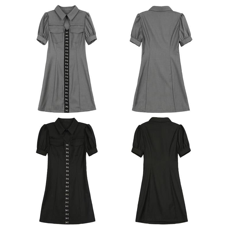 Gray black turn down collar short sleeve mini dress