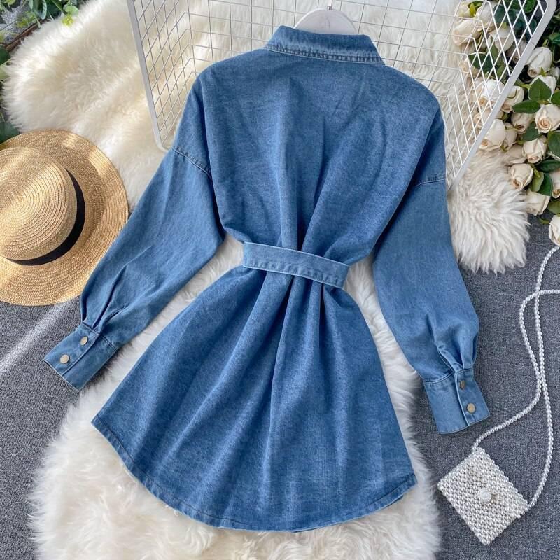 Black blue long sleeve denim shirt dress