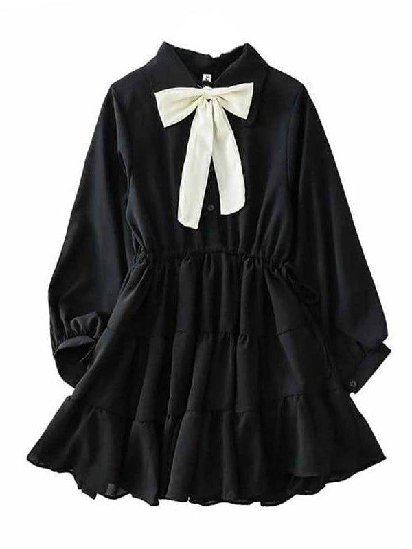 Bow turn down collar black white long sleeve mini dress