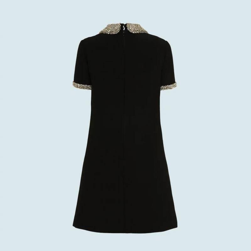 Luxury diamond elegant a-line beaded collar black white mini dress