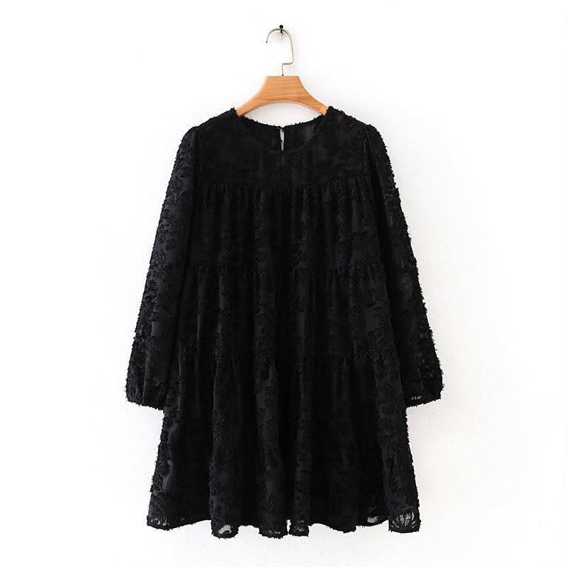Black texture pattern loose lantern sleeve ruffle mini dress