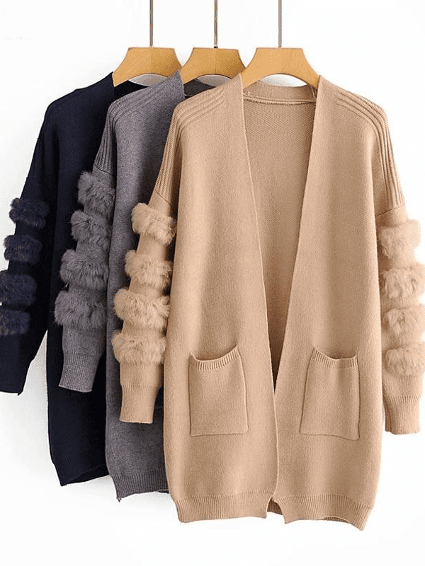 Fur long knitted cardigan sweater