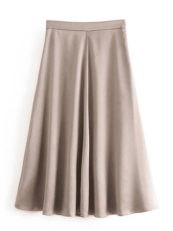 High waist zipper a-line midi skirt