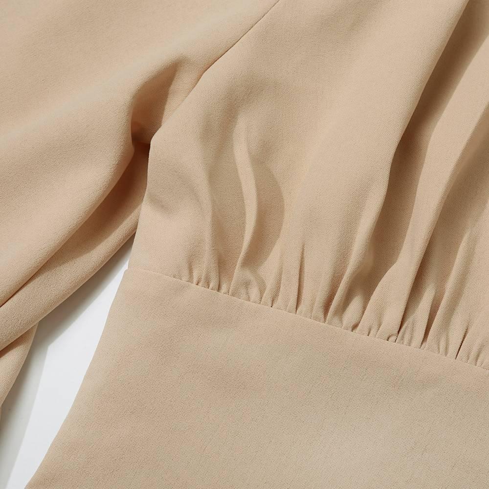 Elegant lantern long sleeve v neck button up blouse shirt