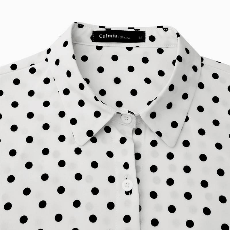 Women Blouses 2020 Autumn Polka Dot Shirt 5XL Celmia Long Lantern Sleeve Lapel Neck Elegant Office Ladies Stylish Tops Plus Size