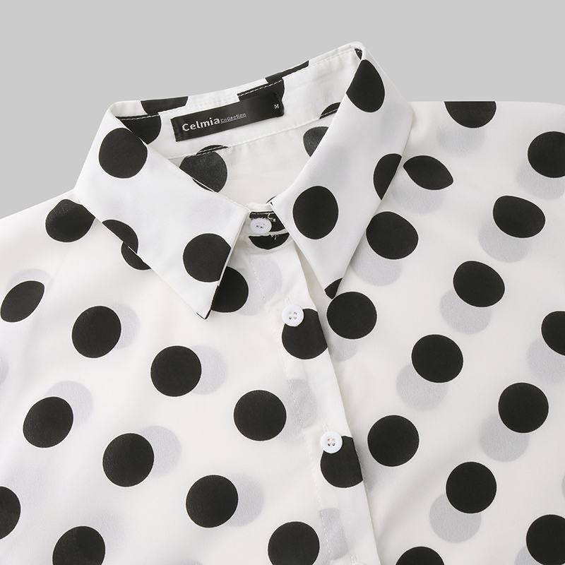 S-5XL Women Polka Dot Tops and Blouses 2020 Celmia Autumn Lantern Sleeve Casual Shirts Retro Loose Buttons Female Party Blusas 7