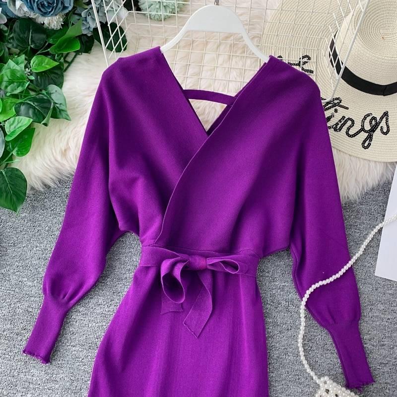 Elegant batwing sleeve v neck knitted white office dress